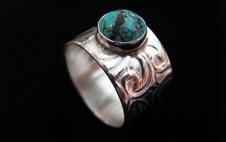 Turquoise and Embossed Silver Ring side view